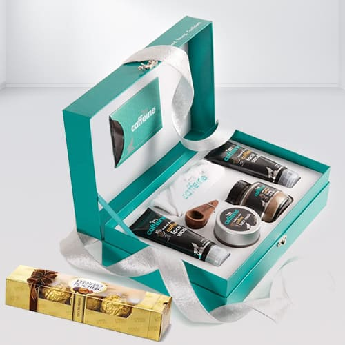 Coffee Mood Skin Care Gift Kit with Yummy Ferrero Rocher Chocolate