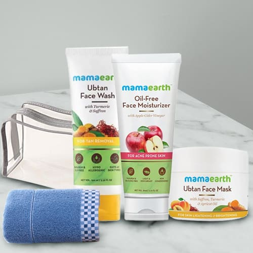 Beautifying Mamaearth Natural Face Care Kit with Soft Face Towel N Pouch