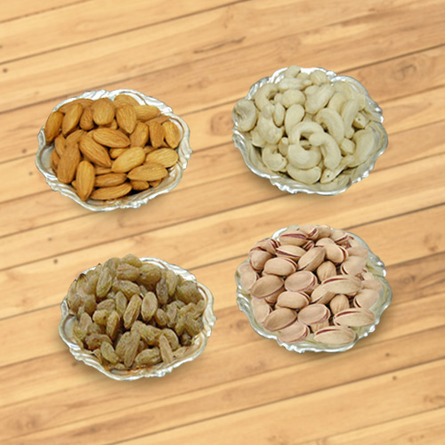 Assorted Dry Fruits with Silver Plated Bowls