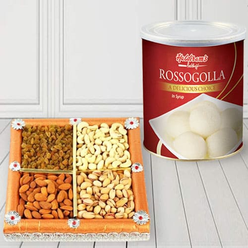 Delectable Haldirams Rasgulla with Assorted Dry Fruits