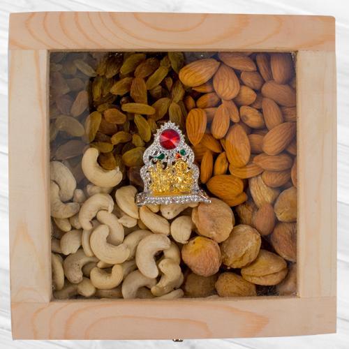 Remarkable Wooden Box of Assorted Dry Fruits n Ganesh Laxmi Mandap