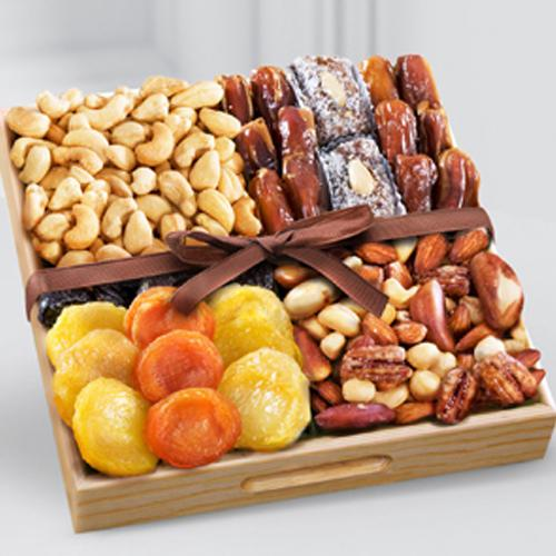 Healthy Snacks time Dry Fruits in a Wooden Tray