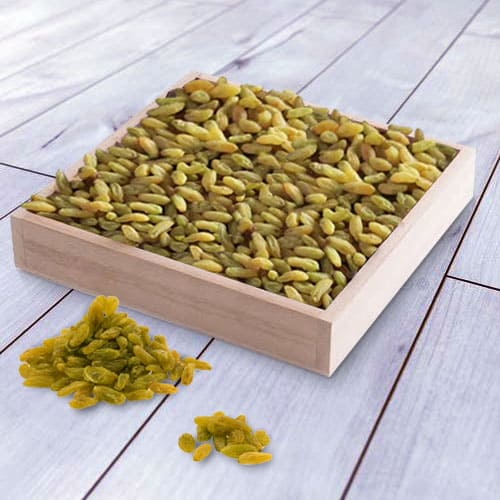 Finest Raisins in a Wooden Tray