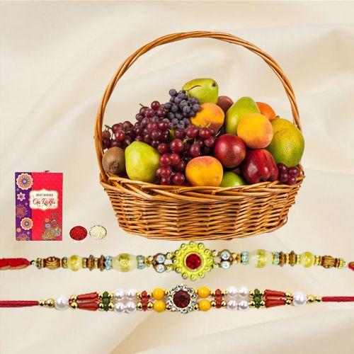 Fresh Fruit Basket 2 Kg with Free 2 Rakhis and Roli Tilak Chawal
