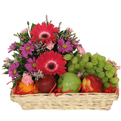 Basket of Fresh Fruits with Flowers
