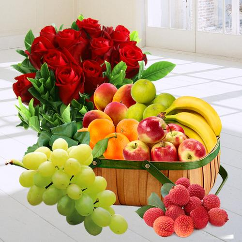 Fresh Fruits Basket with Red Roses Bunch
