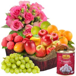 Pink Roses with Haldirams Rasgulla N Fruits Basket