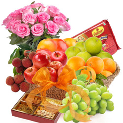 Fresh Fruits Basket with Sweets N Pink Roses