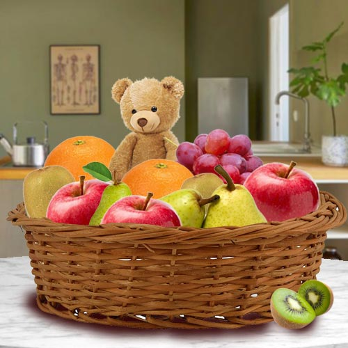 Delicious Basket of Fresh Fruits with Teddy