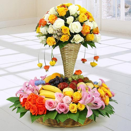 Marvellous Arrangement of Fresh Fruits N Flowers