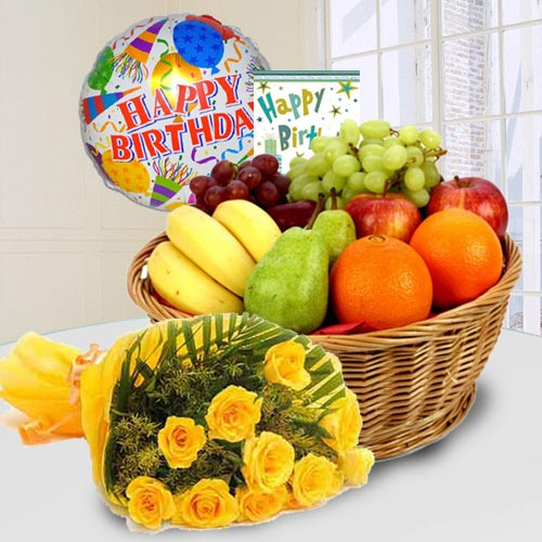 Delightful Fresh Fruits Basket with Yellow Rose Bouquet