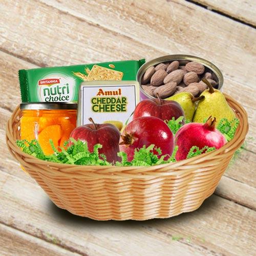 Marvelous Basket of Fresh Fruits N Assortments