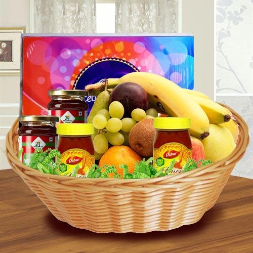 Delectable Assorted Fresh Fruits Basket