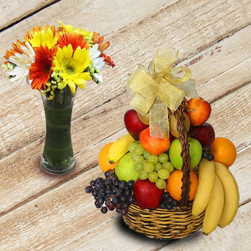 Enticing Fresh Fruits Basket with Gerberas