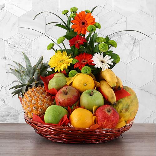Premium Fruits n Flowers Gift Basket