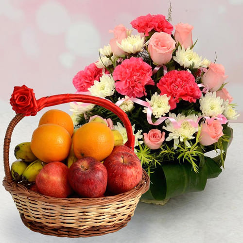 Garden-Fresh Seasonal Fruits with Mixed Flowers Basket