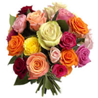 Charming Two Dozen Colorful Mixed Roses with Amazing Style