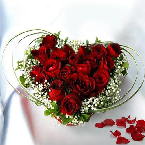 Gift of Heart Shaped Red Rose Arrangement