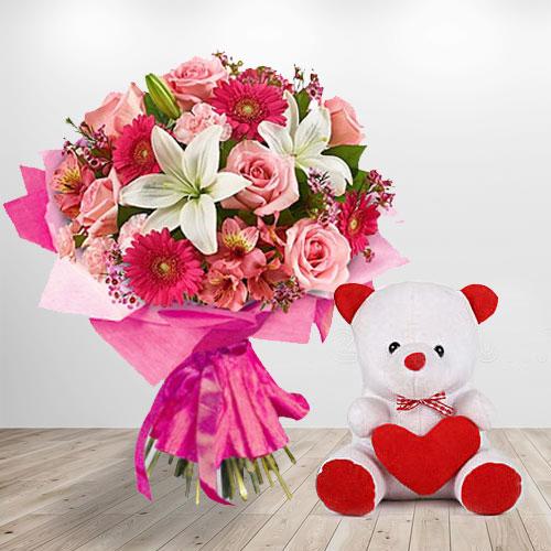 Flowers N Teddy Arranged in a Basket