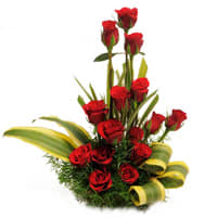 Fresh Red Roses Basket Online