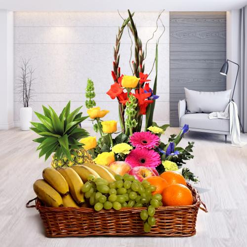 Premium Fruits Basket with Seasonal Flowers