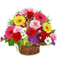 Classic Beauty Basket of Blushing Flowers