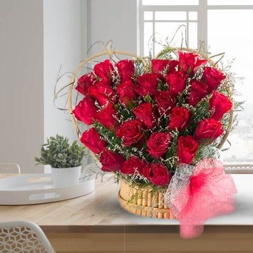 Stunning Red Roses Heart Shaped Arrangement