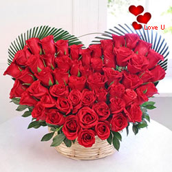 18  Red Roses in Heart Shape Arrangement.