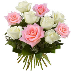 Elegant Pink and White Roses Bouquet