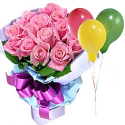Pink Roses with Balloons Combo