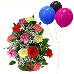 Basket of Mixed Carnations with Balloons