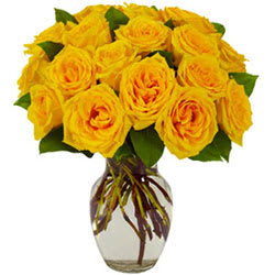 Wonderful Yellow Roses in a Glass Vase