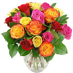 Striking Summer Delight Special Mixed Roses in a Vase