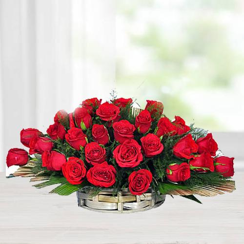 Fantastic Basket of Red Roses