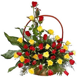 Ravishing Basket of Red N Yellow Roses