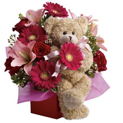 Lovely Mixed Flowers Arrangement N Teddy