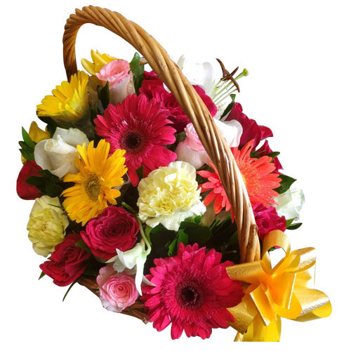 Fabulous Basket Arrangement of Mixed Flowers