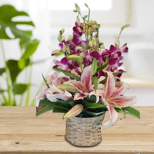 Special Pink Oriental Lilies n Purple Orchids Arrangement