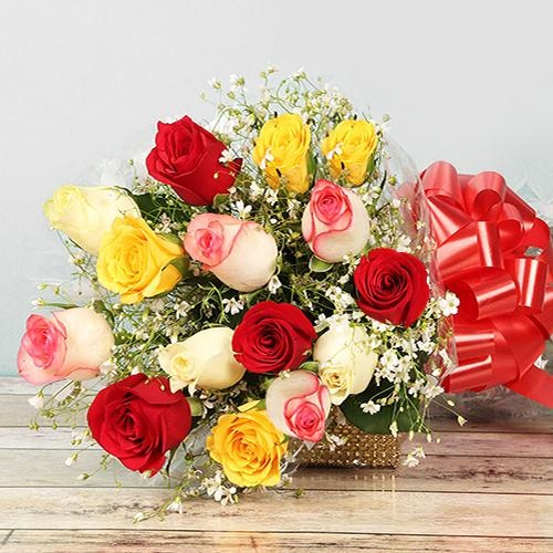 Blooming Motherly Love Bouquet of Colorful Roses