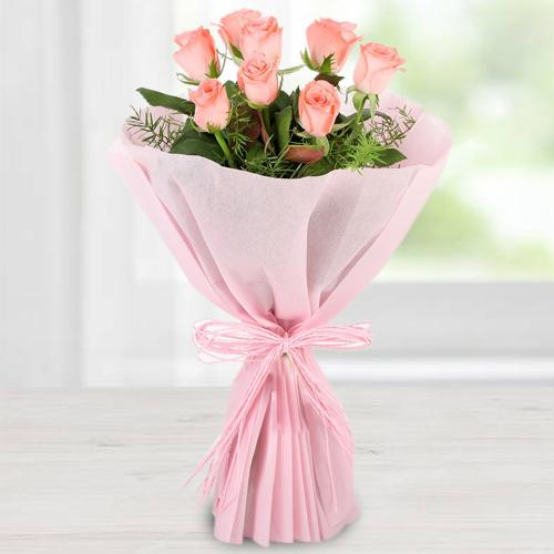 Classic Proposal Gift of Pink Roses with Tissue Wrap