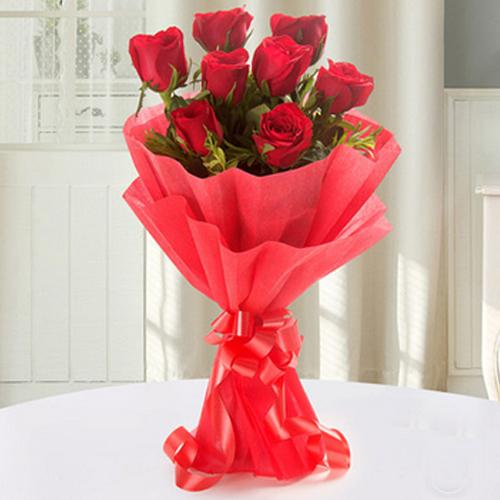 Romantic Proposal Gift of Red Rose Arrangement in Tissue Wrapped