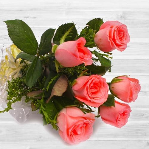 Exclusive 6 pcs Pink Rose Bouquet