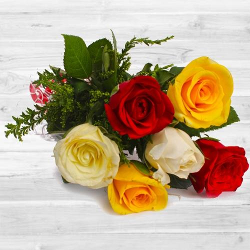 Charismatic 6 pcs Mixed Rose Bouquet