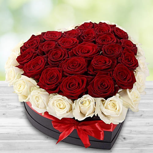 Attractive Heart Shaped Box of Red and White Roses