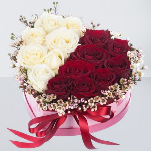 Adorable Red n White Roses in Heart Shape Box