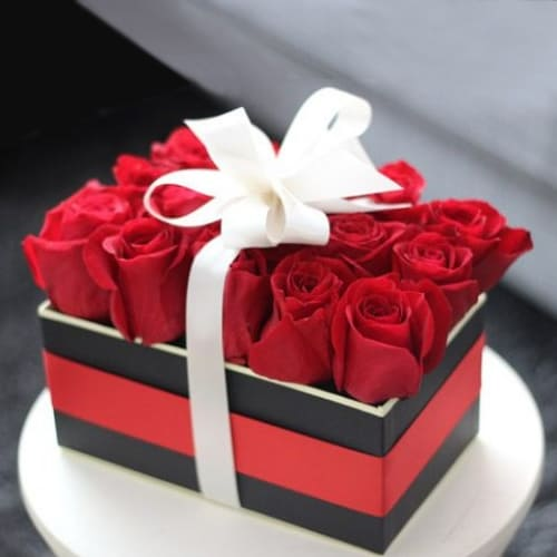 Wonderful Red Roses Box Tied with White Ribbon