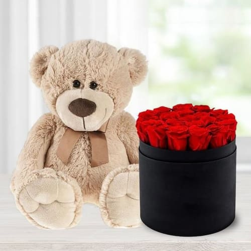 Lovely Red Roses in a Black Hat Box with Cute Teddy