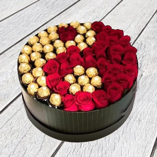 Classy Luxury Box of Red Roses n Ferrero Rocher