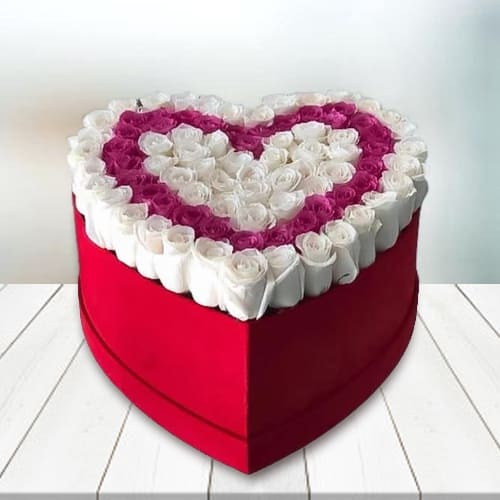 Striking Heart Box of Twin Color Roses
