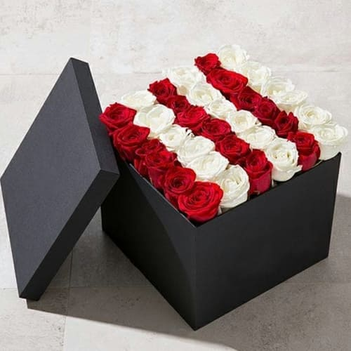 Stunning Square Box of Red n White Roses